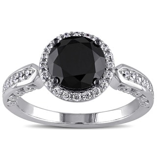 M by Miadora Sterling Silver Black and White Cubic Engagement-style Ring