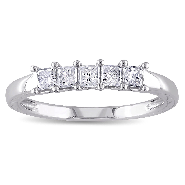 Size-12.25 G-H,I2-I3 Diamond Wedding Band in 10K White Gold 1//6 cttw,