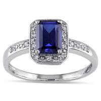 Miadora 10k White Gold Created Sapphire and Diamond Accent Ring