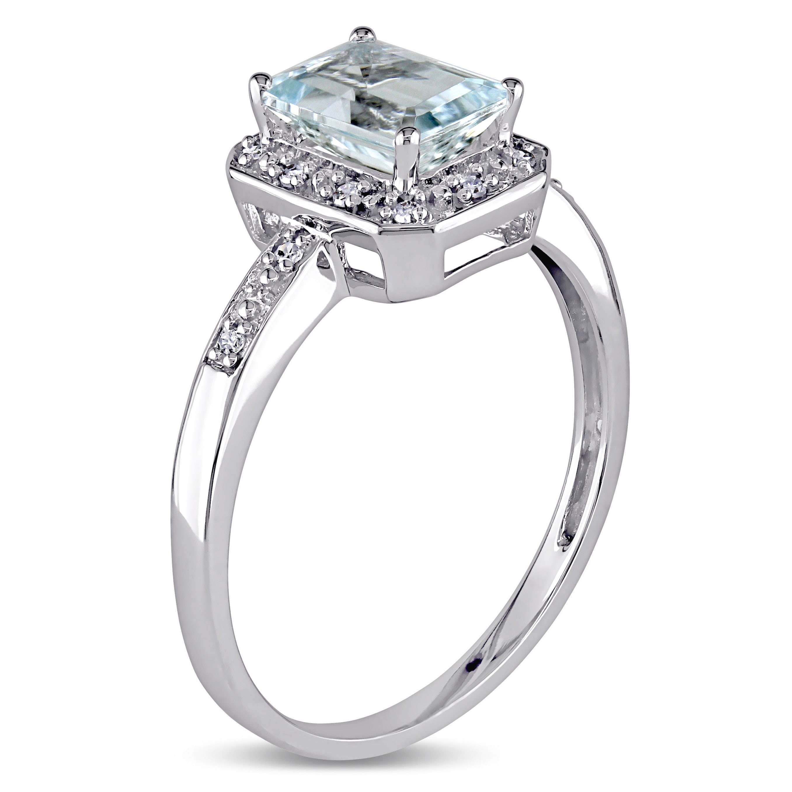Miadora 10k White Gold Aquamarine And Diamond Accent Ring For Sale Online