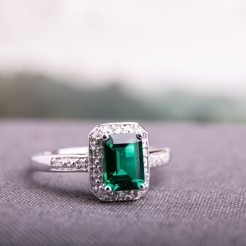 Miadora 10k White Gold Created Emerald and Diamond Accent Ring