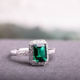 Miadora 10k White Gold Created Emerald and Diamond Accent Ring|https://ak1.ostkcdn.com/images/products/5594004/P13358225.jpg?impolicy=medium