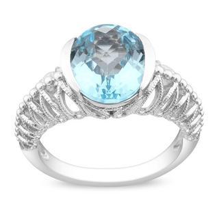 Miadora Gems Sterling Silver Oval Checkerboard Sky Blue Topaz Fashion Ring