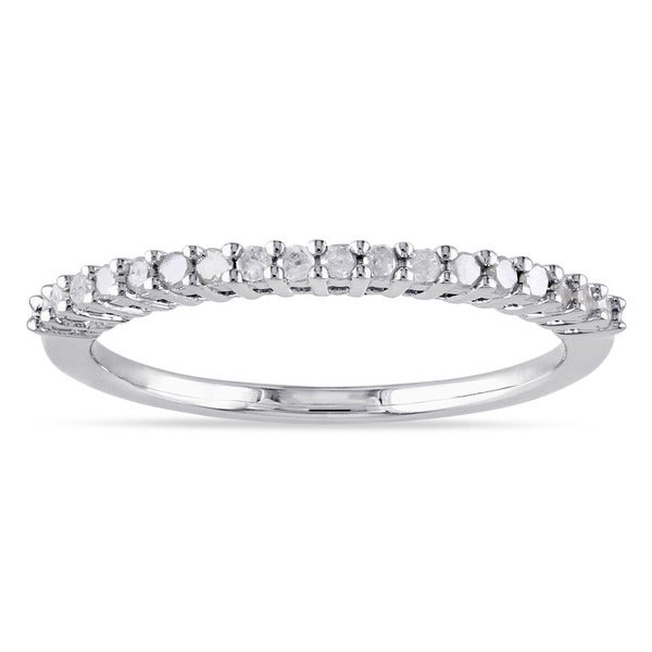 Miadora Sterling Silver 1/ 5ct TDW Diamond Thin Stackable Wedding Band