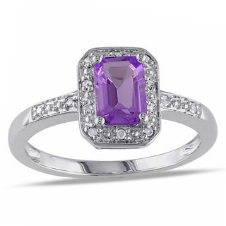 Miadora Highly Polished Sterling Silver Amethyst and Diamond Accent Ring