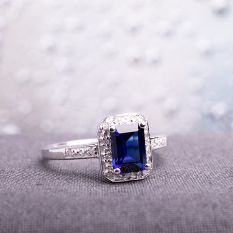Miadora Sterling Silver Emerald-cut Created Sapphire and Diamond Ring