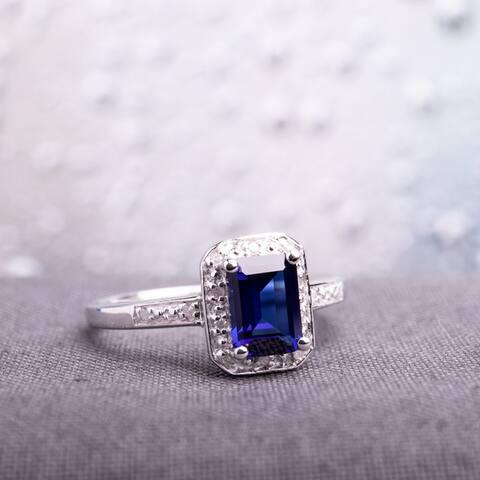 Miadora Sterling Silver Emerald-cut Created Sapphire and Diamond Ring