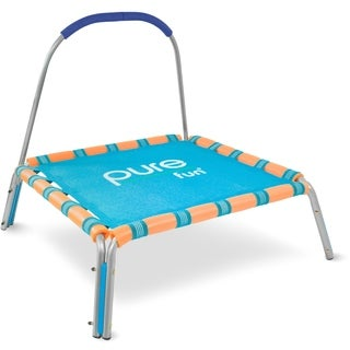 Pure Fun Kids Jumper Trampoline with Handrail - Blue/Orange