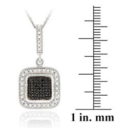 DB Designs Sterling Silver 1/5ct TDW Black Diamond Square Necklace - Thumbnail 2
