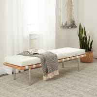 Jasper Laine Andalucia Modern White Leather Bench Large 60-inch