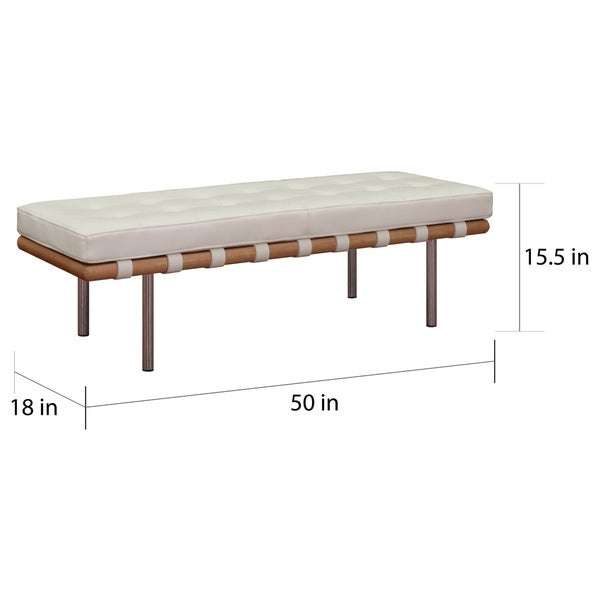 Andalucia Modern White Leather Bench (50 Inches Long)   Free Shipping Today    Overstock.com   13358773