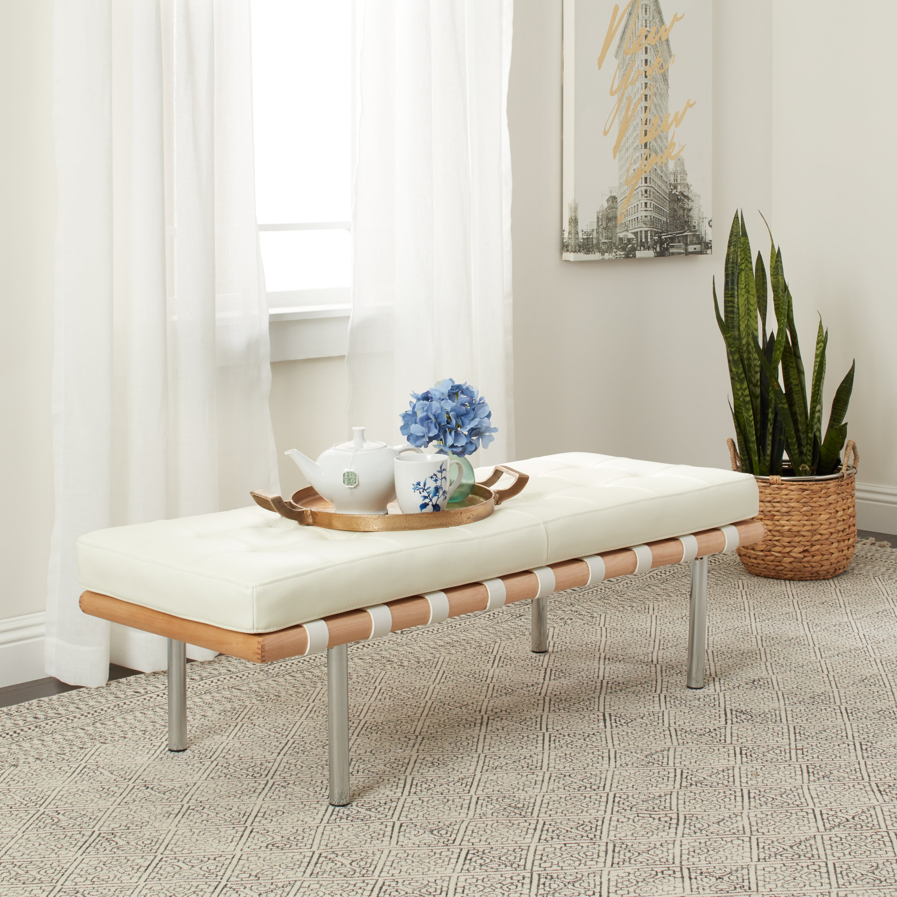 Andalucia Modern White Leather Bench (50 inches long) (Ch...