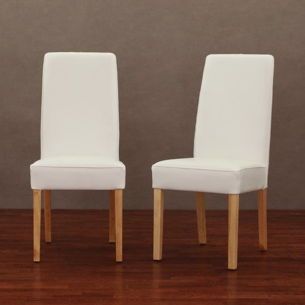 Modern white leather dining chair set of 2 free for Modern white dining room chairs