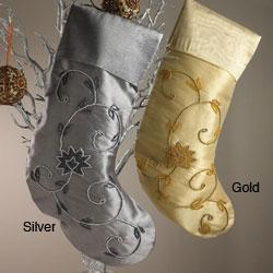 Beaded Tissue Fabric Stockings (Set of 3)