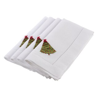 Embroidered Tree Design Napkins (Set of 4)