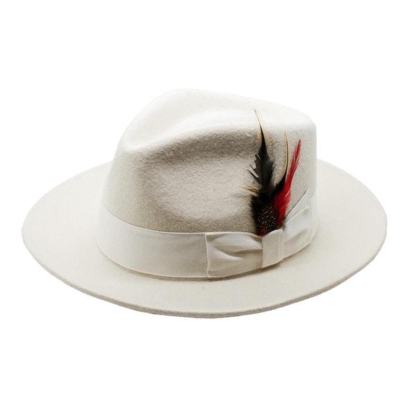Ferrecci Men's White Wool Felt Fedora