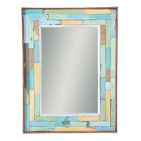 Recycled Boatwood Ratana Blocks Framed Mirror  , Handmade in Thailand