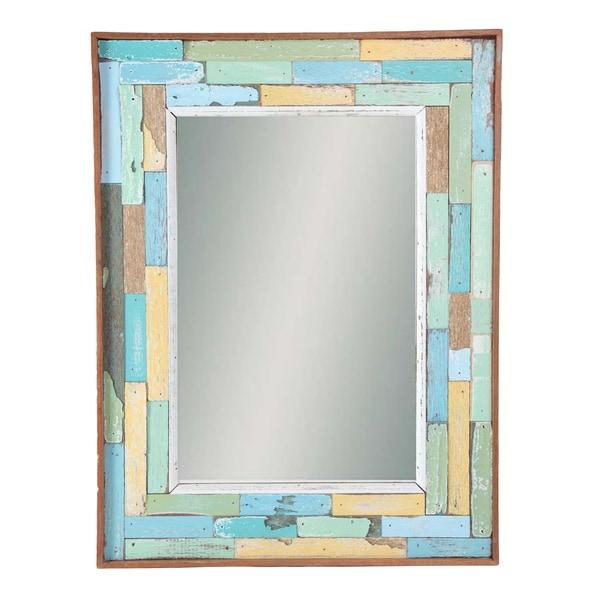 Recycled Boatwood Ratana Blocks Framed Mirror  , Handmade in Thailand