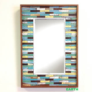 Handmade Recycled Wood Maha Jigsaw Framed Mirror (Thailand)
