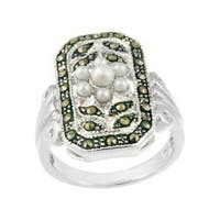 Glitzy Rocks Sterling Silver Marcasite and Faux Pearl Flower Ring