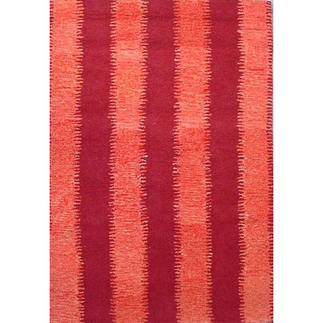 Hand-tufted Zigzag Orange/ Red Wool Rug - 5' x 8'