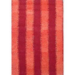 Hand-tufted Zigzag Orange/ Red Wool Rug - 5' x 8' - Thumbnail 0