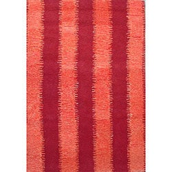 Hand-tufted Zigzag Orange/ Red Wool Rug (8' x 11')