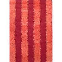 Hand-tufted Zigzag Orange/ Red Wool Rug - 8' x 11'