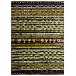 Handwoven Mohawk Green Striped Jute Rug (6' x 9')
