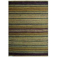 Handwoven Mohawk Green Striped Jute Rug - 6' x 9'