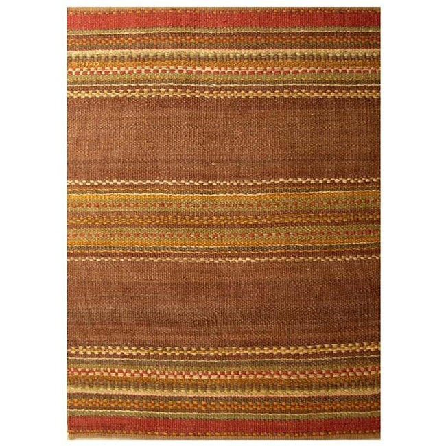 Handwoven Mohawk Brown Stripe Pattern Jute Rug - 6' x 9'