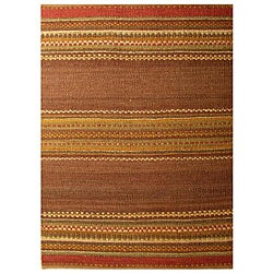 Handwoven Mohawk Brown Stripe Pattern Jute Rug (6' x 9')