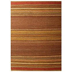 Handwoven Mohawk Brown Stripe Pattern Jute Rug - 6' x 9' - Thumbnail 0