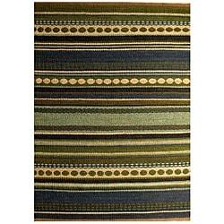 Hand-woven Mohawk Blue/ Green Stripe Jute Rug (6' x 9') - 6' x 9' - Thumbnail 0