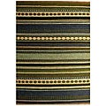 Hand-woven Mohawk Blue/ Green Stripe Jute Rug (6' x 9') - 6' x 9'