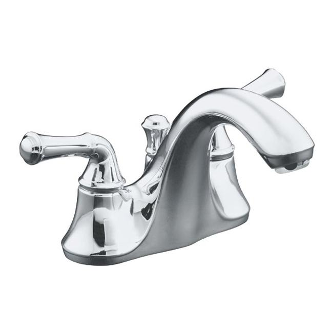 Kohler K-10270-4A-CP Polished Chrome Forte Centerset Lavatory Faucet With Traditional Lever Handles