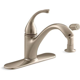 Kohler K-10412-BV Vibrant Brushed Bronze Forte Single-Control Kitchen Sink Faucet With Escutcheon, Sidespray And Lever Handle