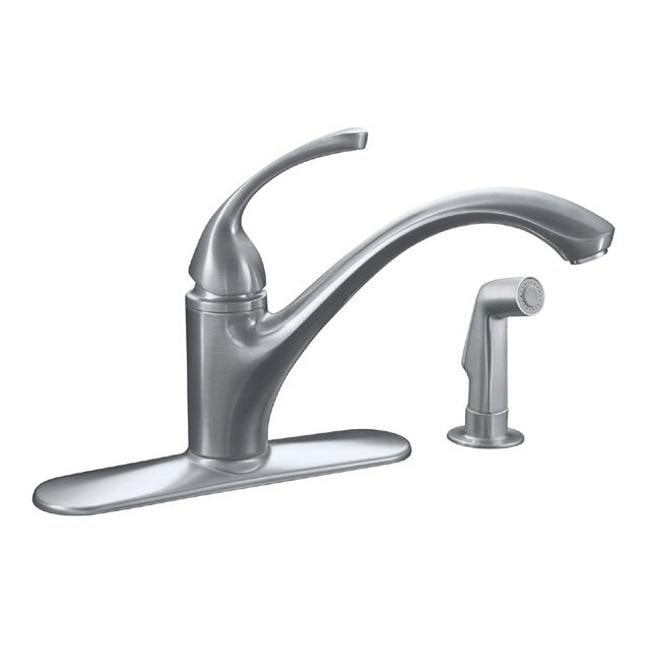 ... Kitchen Sink Faucet With Escutcheon, Sidespray And Lever Handle