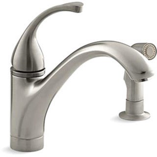 Kohler K-10416-BN Vibrant Brushed Nickel Forte Single-Control Kitchen Sink Faucet With Sidespray And Lever Handle