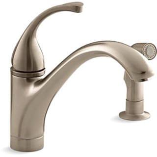 Kohler K-10416-BV Vibrant Brushed Bronze Forte Single-Control Kitchen Sink Faucet With Sidespray And