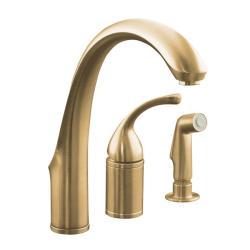 Kohler K-10430-BV Vibrant Brushed Bronze Forte Single-Control Remote Valve Kitchen Sink Faucet With Sidespray And Lever Handle