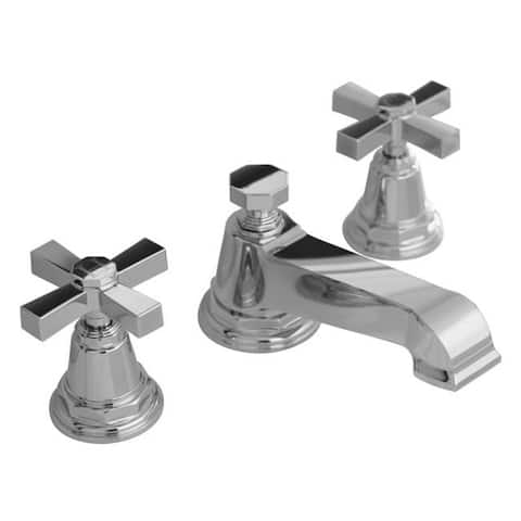 Kohler K-13132-3A-CP Polished Chrome Pinstripe Pure Widespread Lavatory Faucet with Cross Handles