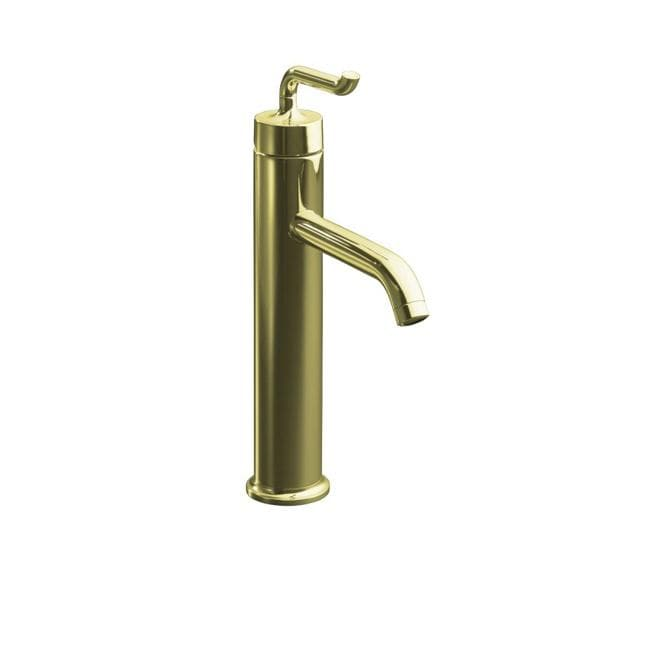 Kohler K-14404-4-AF Vibrant French Gold Purist Tall Single-Control Lavatory Faucet With Smile Design Handle