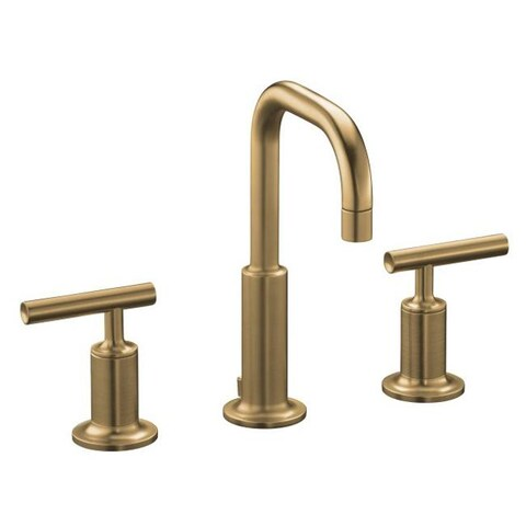 Kohler K-14406-4-BV Vibrant Brushed Bronze Purist Widespread Lavatory Faucet With Low Gooseneck Spout And Low Lever Handles