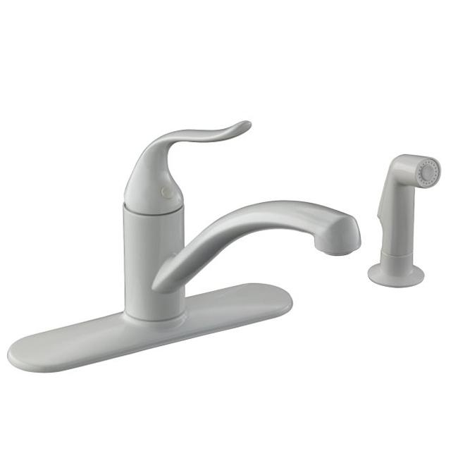 Kohler K-15072-P-0 White Coralais Decorator Kitchen Sink Faucet With Escutcheon, Matching Finish Sidespray And Lever Handle