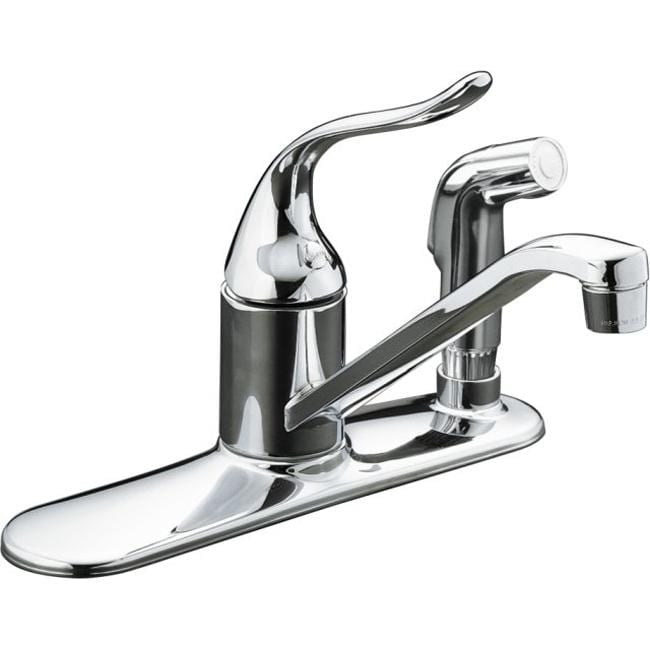 """Kohler K-15173-F-CP Polished Chrome Coralais Single-Control Kitchen Sink Faucet With 8-1/2"""" Spout, Color-Matched Sidespray Throu"""