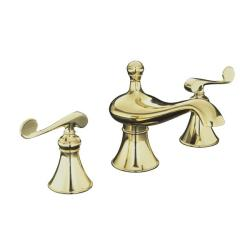 Kohler K-16102-4-PB Vibrant Polished Brass Revival Widespread Lavatory Faucet With Scroll Lever Handles