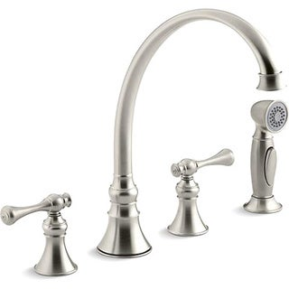 """Kohler K-16109-4A-BN Vibrant Brushed Nickel Revival Kitchen Sink Faucet With 9-3/16"""" Spout, Sidespray And Traditional Lever Hand"""