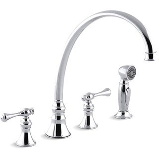 "Kohler K-16111-4A-CP Polished Chrome Revival Kitchen Sink Faucet With 11-13/16"" Spout, Sidespray And Traditional Lever Handles"