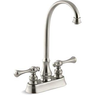 Kohler K-16112-4A-BN Vibrant Brushed Nickel Revival Entertainment Sink Faucet With Traditional Lever Handles